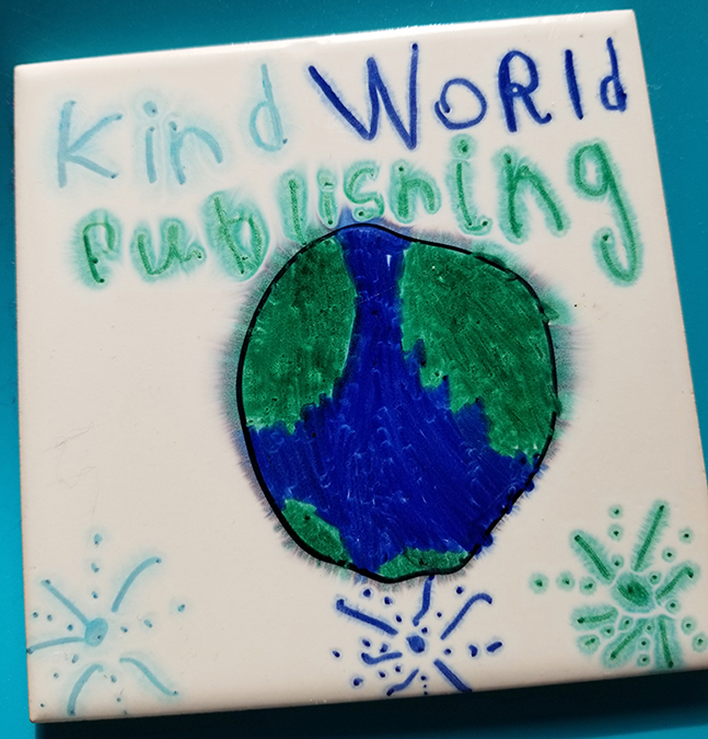 Painted Kind World Publishing coaster with a blue and green world